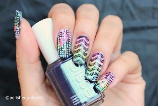 Rainbow Neon Nail Design