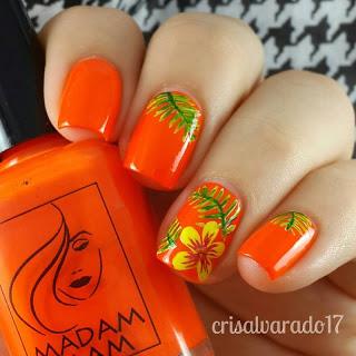 Orange Floral Nails Design
